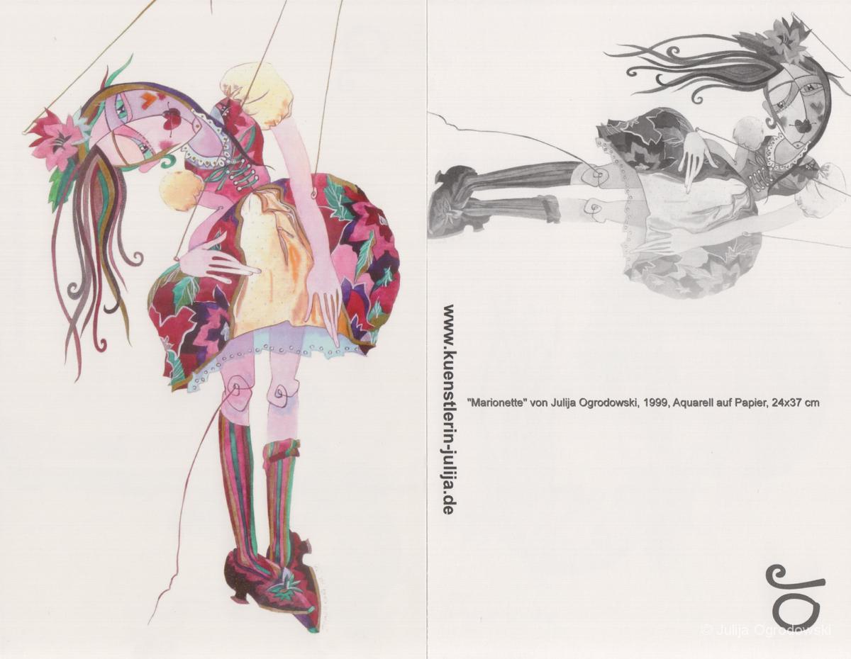 Postkarte Marionette - Julija Ogrodowski