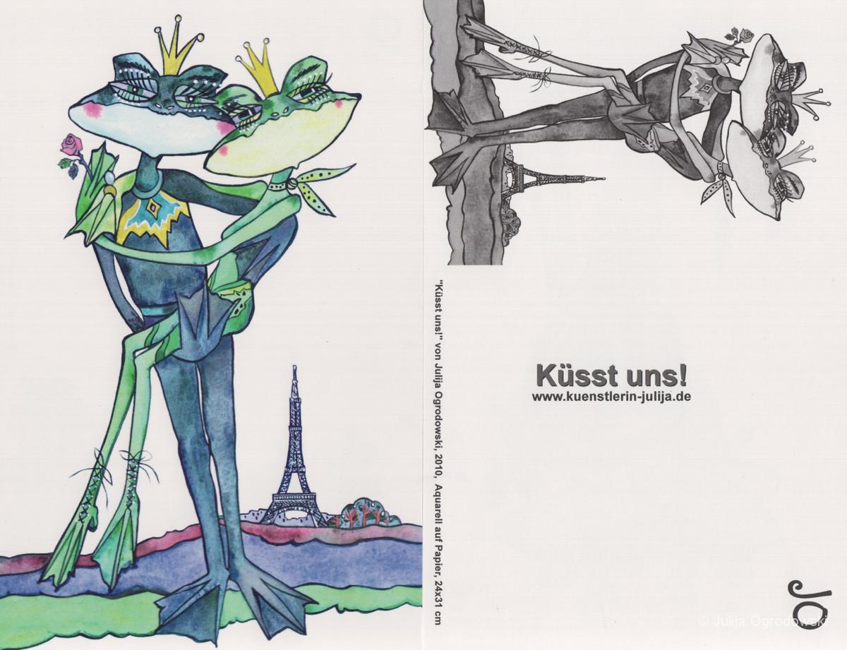 Postkarte Pariser Kuss - Julija Ogrodowski