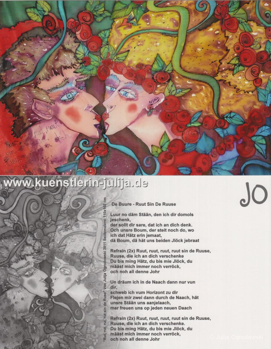 Postkarte Rot sind die Rosen - Julija Ogrodowski
