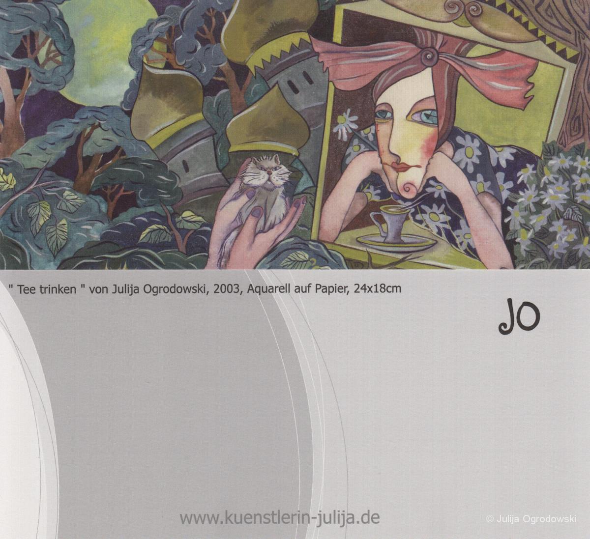Postkarte Tee trinken - Julija Ogrodowski