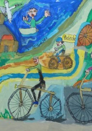 """""""Die große Radtour von Belecke bis zum Möhnesee"""" (Siegerbild des Kindermalwettbewerbs """"Möhne-Maler 2014"""") von Semjon Ogrodowski"""