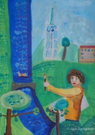 """""""Ein Selfie in St. Pol sur Ternoise"""" von Semjon Ogrodowski 2015 42x54 cm, Deckfarben auf Papier"""