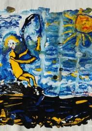 """Textilbild """"Angelausflug"""" für Festival """"Der lebendige finnische Meerbusen in Sankt Petersburg 2015"""" von Semjon Ogrodowski"""